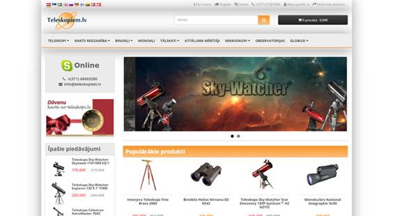 Optisko iekārtu un piederumu interneta veikals, kurš apkalpo klientus Baltijas valstīs un visā Eiropā. Veikals piedāvā pasaulē vadošo ražotāju optiskās iekārtas amatieriem un profesionāliem astronomiem un pētniekiem, kā arī ekspertu konsultācijas. Veikals tiem, kuri vēlas ieraudzīt vairāk.